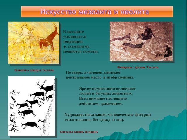 Живопись пещеры Тассили. Охота на оленей. Испания. Женщины с детьми. Тассили....