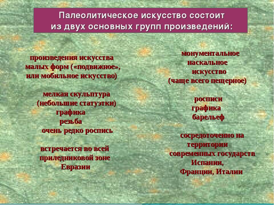 Палеолитическое искусство состоит из двух основных групп произведений: произ...