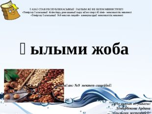 Ғылыми жоба ҚАЗАҚСТАН РЕСПУБЛИКАСЫНЫҢ ҒЫЛЫМ ЖӘНЕ БІЛІМ МИНИСТРЛІГІ «Теміртау