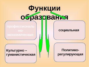 Функции образования профессионально-экономическая- социальная Культурно – гум