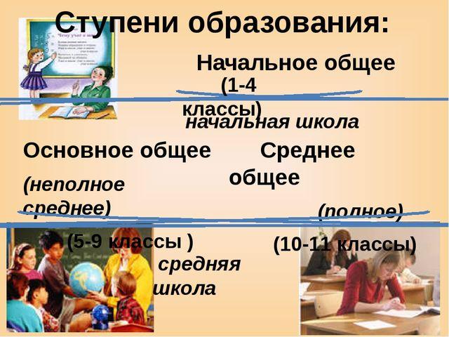 Среднее общее (полное) (10-11 классы) Основное общее (неполное среднее) (5-9...
