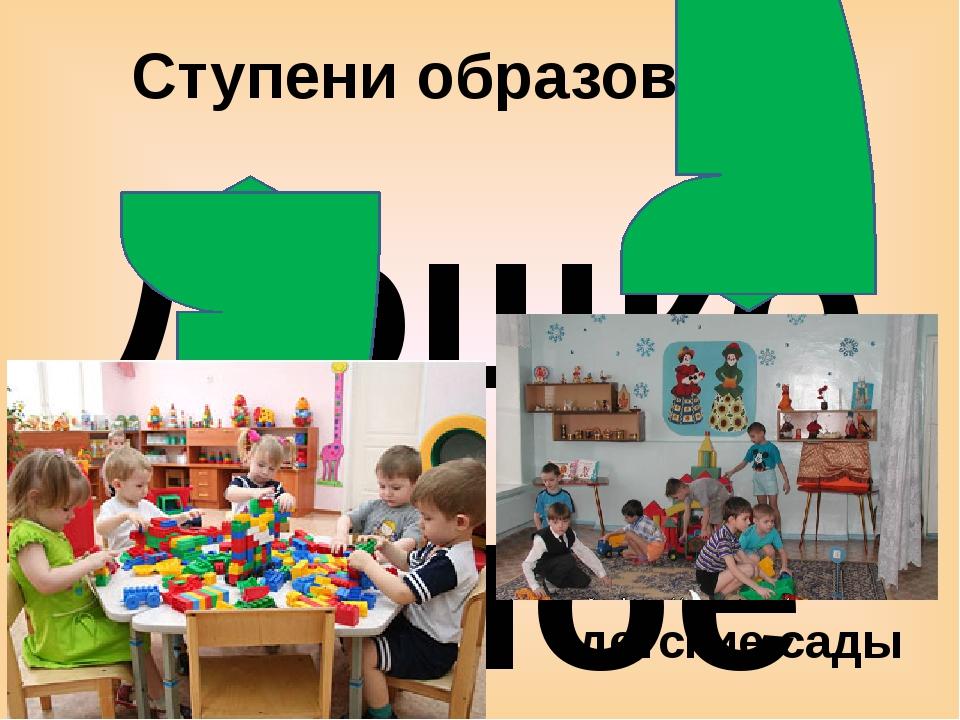 Ступени образования Дошкольное - ясли - детские сады