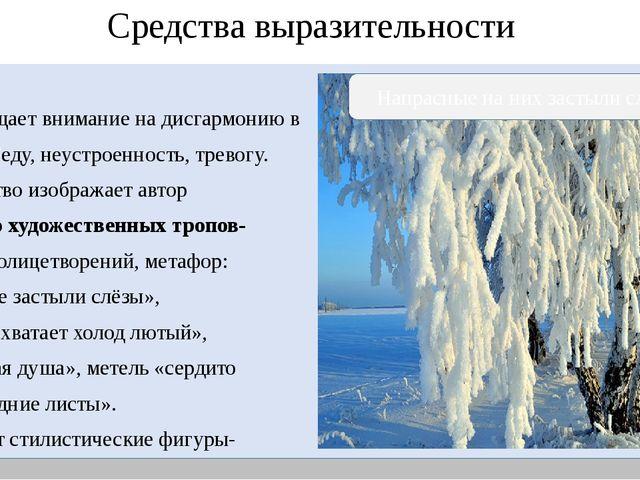 Средства выразительности Поэт обращает внимание на дисгармонию в Природе .Бе...