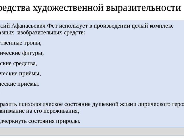 Средства художественной выразительности Афанасий Афанасьевич Фет использует...