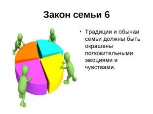 Закон семьи 6 Традиции и обычаи семьи должны быть окрашены положительными эмо