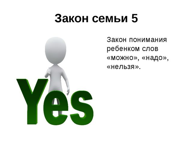 Закон семьи 5 Закон понимания ребенком слов «можно», «надо», «нельзя».