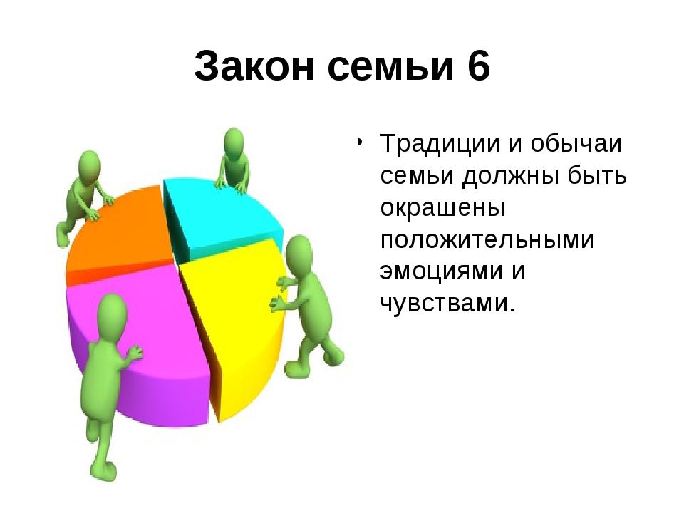 Закон семьи 6 Традиции и обычаи семьи должны быть окрашены положительными эмо...