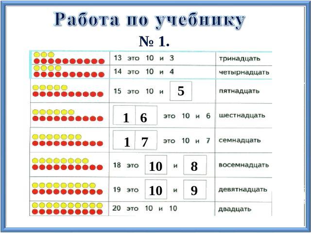 знакомство числа от 11 до 20