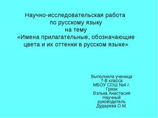 Научно-исследовательская работа по русскому языку на тему «Имена прилагательн
