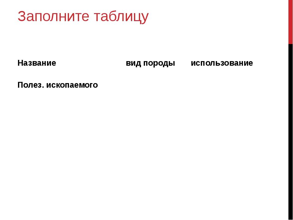 Заполните таблицу Название вид породы использование Полез. ископаемого