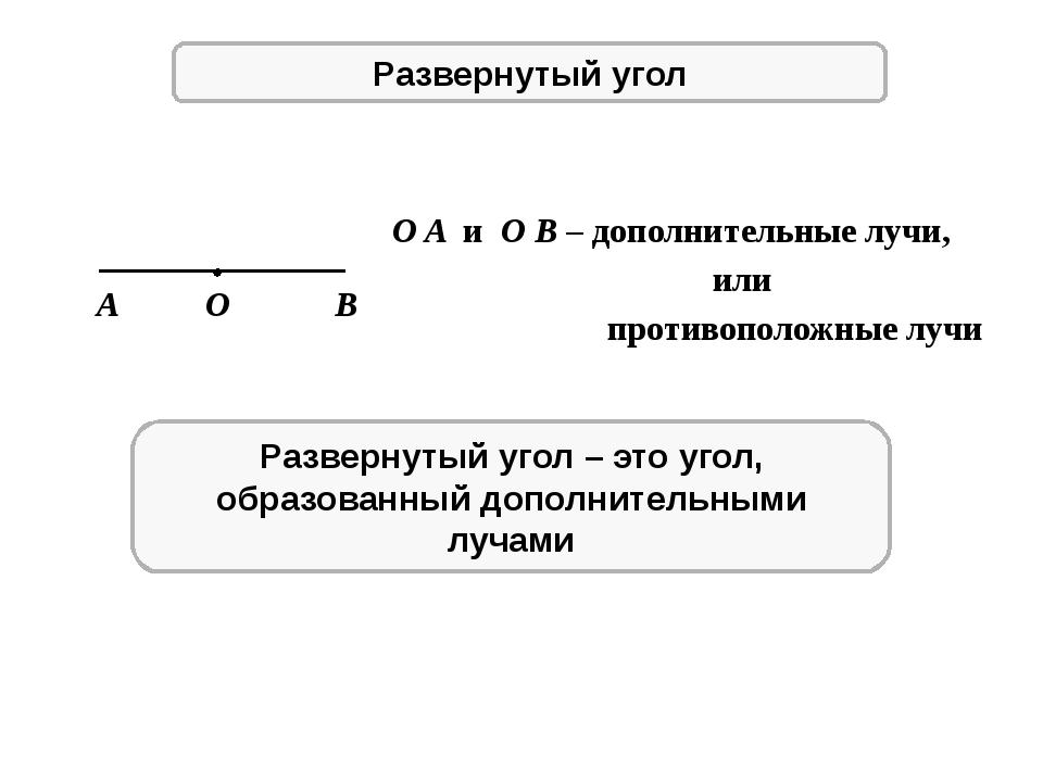 Развернутый угол A O B O A и O B – дополнительные лучи, или противоположные л...