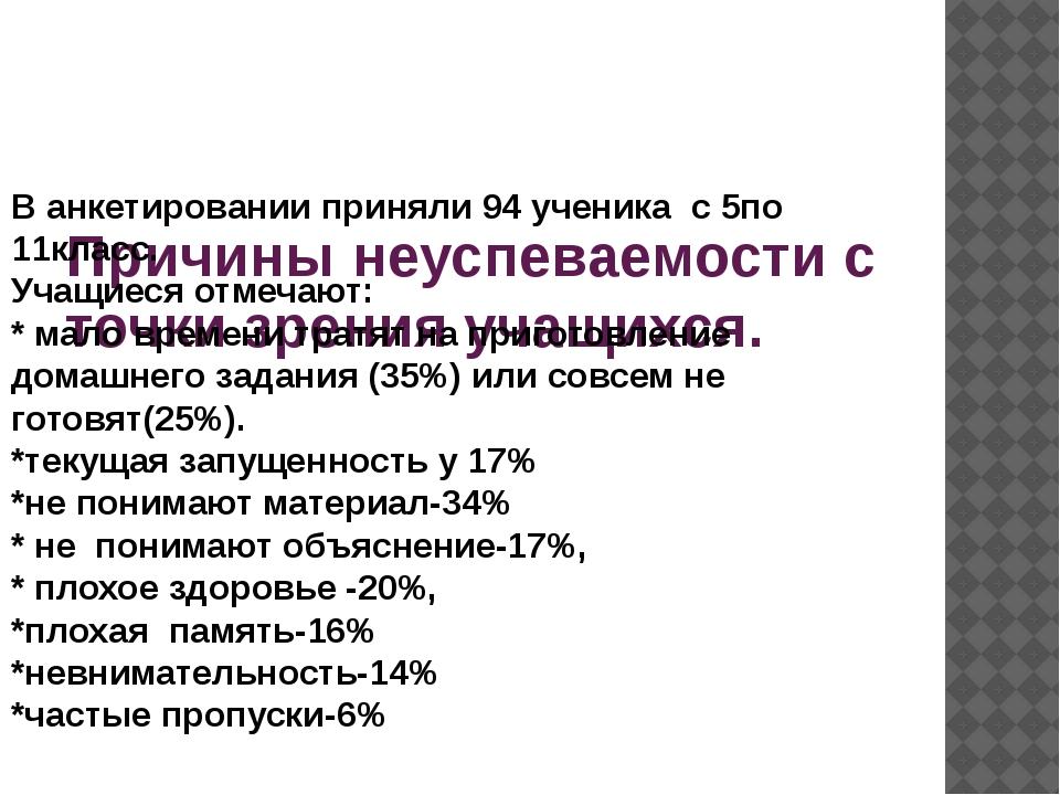 Причины неуспеваемости с точки зрения учащихся. В анкетировании приняли 94 у...