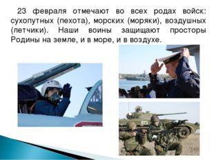 23 февраля отмечают во всех родах войск: сухопутных (пехота), морских (моряк