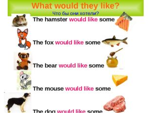 The hamster would like some The fox would like some The bear would like some