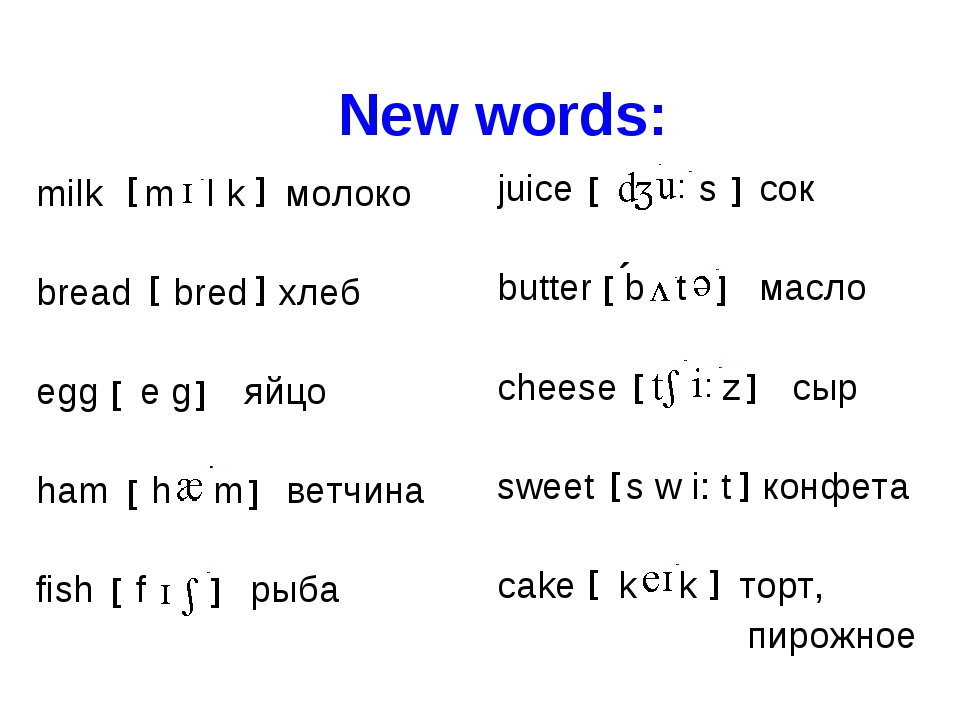 New words: milk m l k молоко bread bred хлеб egg e g яйцо ham h m ветчина fis...