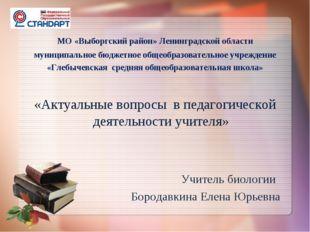 МО «Выборгский район» Ленинградской области муниципальное бюджетное общеобра
