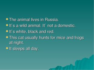 The animal lives in Russia. It`s a wild animal. It` not a domestic. It`s whit