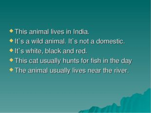 This animal lives in India. It`s a wild animal. It`s not a domestic. It`s whi