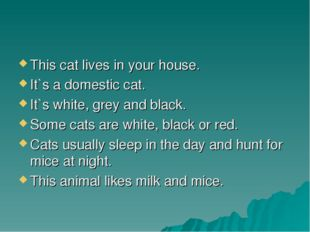 This cat lives in your house. It`s a domestic cat. It`s white, grey and black
