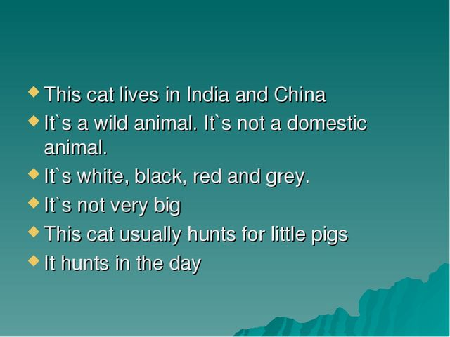 This cat lives in India and China It`s a wild animal. It`s not a domestic ani...