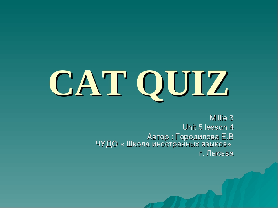 CAT QUIZ Millie 3 Unit 5 lesson 4 Автор : Городилова Е.В ЧУДО « Школа иностра...