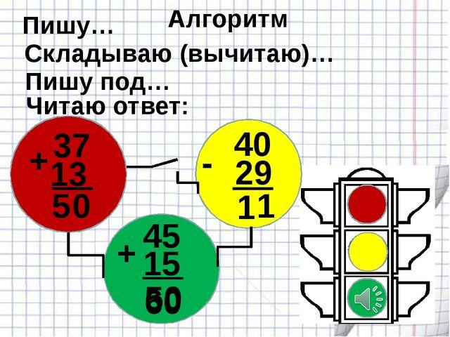 37 13 0 40 29 1 45 15 50 60 + + - 5 1 Алгоритм Пишу… Складываю (вычитаю)… Пи...