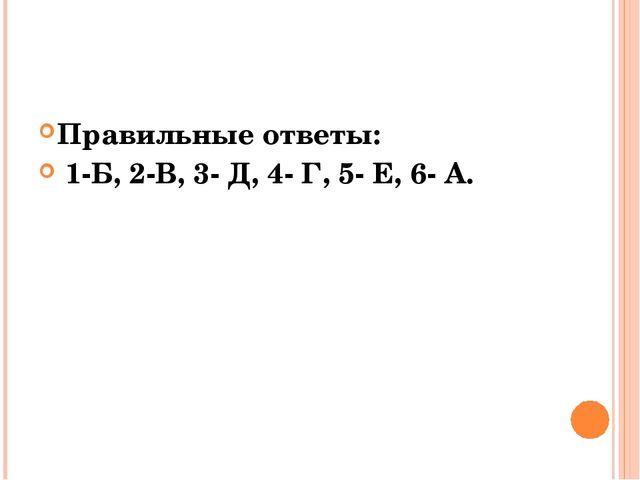 Правильные ответы: 1-Б, 2-В, 3- Д, 4- Г, 5- Е, 6- А.
