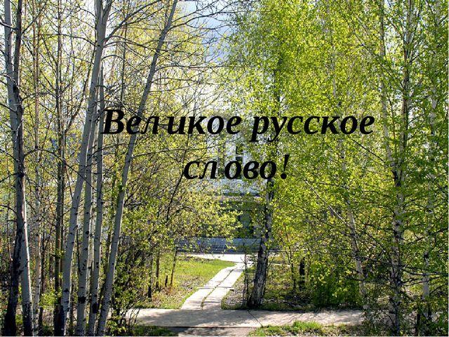 Великое русское слово!