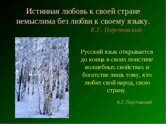 Истинная любовь к своей стране немыслима без любви к своему языку. К.Г. Пауст...