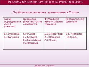Особенности развития романтизма в России МЕТОДИКА ИЗУЧЕНИЯ ЛИТЕРАТУРНОГО НАПР