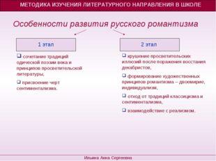 Особенности развития русского романтизма МЕТОДИКА ИЗУЧЕНИЯ ЛИТЕРАТУРНОГО НАП