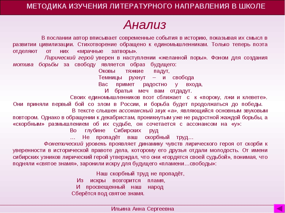 МЕТОДИКА ИЗУЧЕНИЯ ЛИТЕРАТУРНОГО НАПРАВЛЕНИЯ В ШКОЛЕ Ильина Анна Сергеевна Ана...