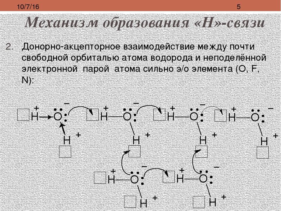 Механизм образования «Н»-связи Донорно-акцепторное взаимодействие между почти...