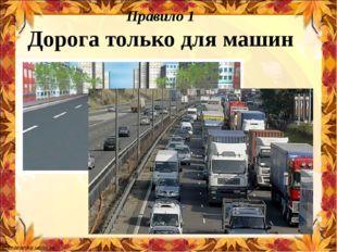 Правило 1 Дорога только для машин