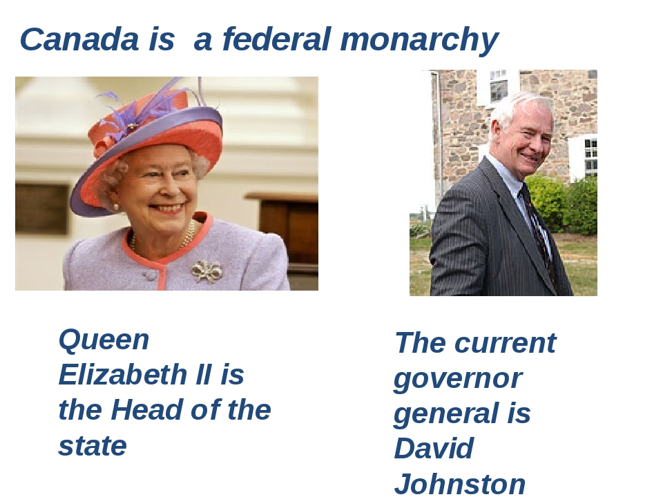 Canada is a federal monarchy Queen Elizabeth II is the Head of the state The...