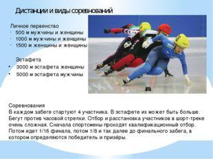 Дистанции и виды соревнований Личное первенство 500 м мужчины и женщины 1000