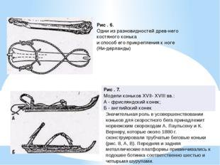 Рис . 6. Одни из разновидностей древнего костяного конька и способ его прикр