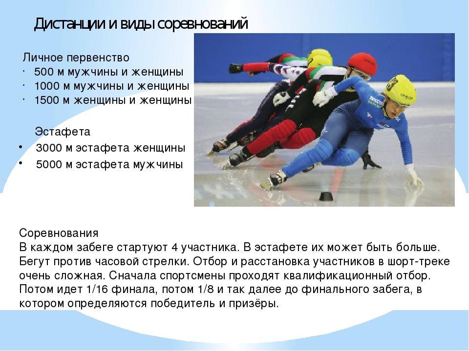 Дистанции и виды соревнований Личное первенство 500 м мужчины и женщины 1000...