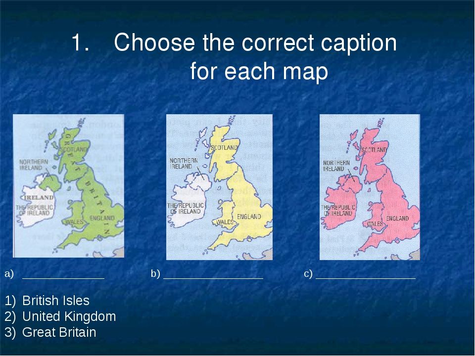 Choose the correct caption for each map ______________ b) _________________ c...