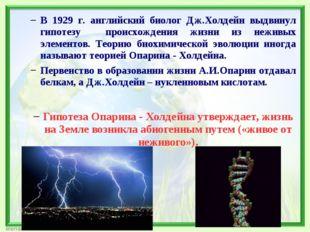 В 1929 г. английский биолог Дж.Холдейн выдвинул гипотезу происхождения жизни