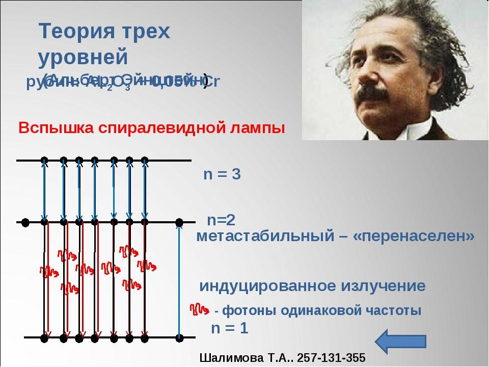 n = 1 n = 3 метастабильный – «перенаселен» Теория трех уровней (Альберт Эйншт...
