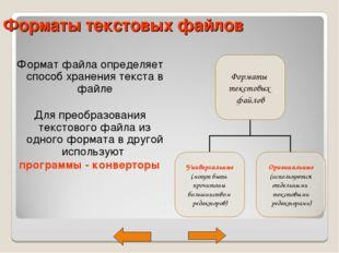 Форматы текстовых файлов Формат файла определяет способ хранения текста в фай
