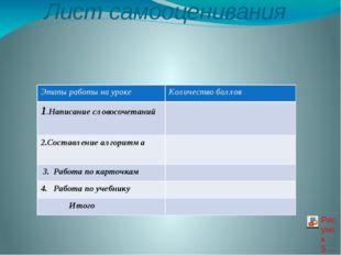 Лист самооценивания Этапыработы на уроке Количество баллов 1.Написаниесловосо