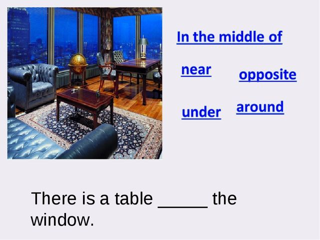 There is a table _____ the window.