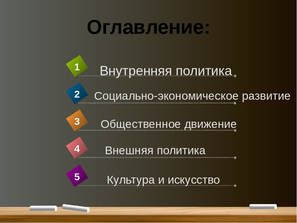 Оглавление: Внешняя политика 4 Внутренняя политика 1 Социально-экономическое...