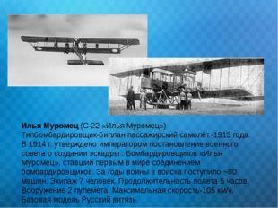 Илья Муромец (С-22 «Илья Муромец») Типбомбардировщик-биплан пассажирский само