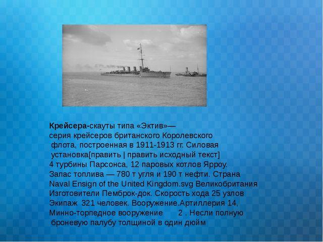 Крейсера-скауты типа «Эктив»— серия крейсеров британского Королевского флота,...