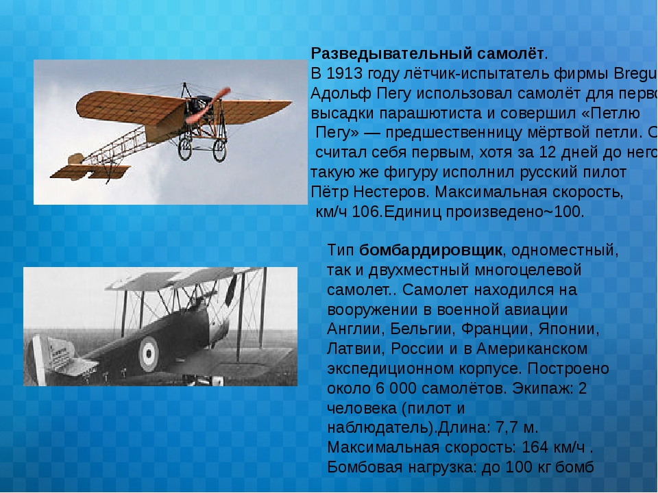 Разведывательный самолёт. В 1913 году лётчик-испытатель фирмы Breguet Адольф...