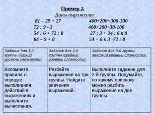Пример 2. Даны выражения: 81 – 29 + 27 400+200+300-100 72 : 9 - 3 400+200+30