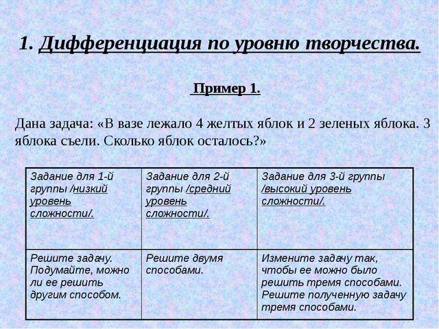 1. Дифференциация по уровню творчества. Пример 1. Дана задача: «В вазе лежал...
